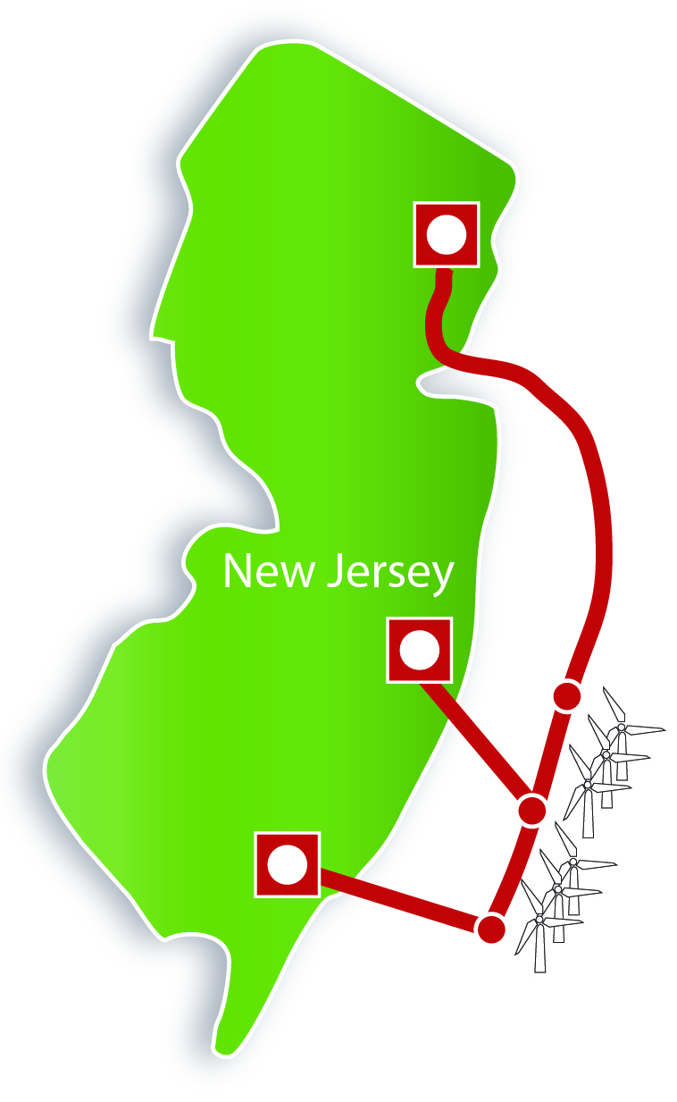Map of Proposed New Jersey Energy Link (Source: Atlantic Wind Connection)