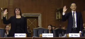Cheryl LaFleur and Norman Bay being sworn in at their Senate confirmation hearing in May 2014.